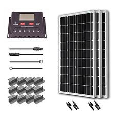 Renogy 300 Watt 12 Volt Monocrystalline Solar Starter Kit With 30a Pwm Controller Lcd Display