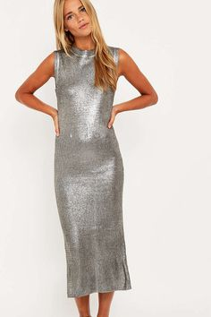 Minkpink Silver Knit Dress - Urban Outfitters