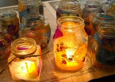 tissue covered  jars for tea light candles