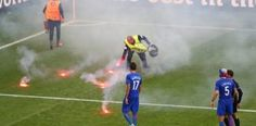 Flare blows up in steward's face during match between Croatia and Czech Republic