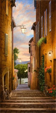 """Realistic landscape painting at Art Leaders Gallery: """"An Evening in Tuscany"""" by Alexander Volkov. Discover affordable fine art, sculptures, hand blown glass, art gifts, and custom framing. artleaders.com 