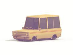 Low-Poly [Vehicles] by Timothy J. Reynolds, via Behance