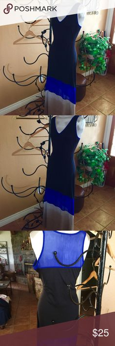 Long FLATTERING fun dress Long black, royal blue (sheer) and gray stretch knit dress. SUPER flattering! Kinda sexy with sheer on knees. Great colors. Tags cut so as not to be seen on sheer back. You will love. Dresses Maxi