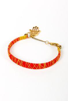 Color Blocked Bracelet- Red/Gold. I love the Hamsa Hand!