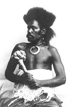 Vintage Fiji Islands - Warrior holding a throwing club