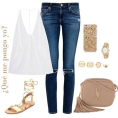 Qué me pongo yo? White top+ripped jeans+golden lace up flat sandals+beige crossbody+gold jewelry. Summer Outfit 2016 Top blanco+vaqueros ripped+ sandalias doradas de atar+bolso bandolera beige+joyas en dorado. Outfti Verano 2016