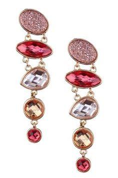 Coral & Gold Faux Druzy Cascade Earrings