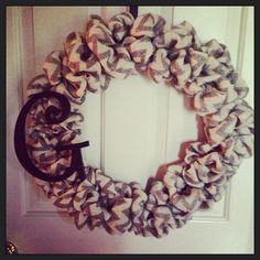 Burlap wreath on Etsy, $50.00