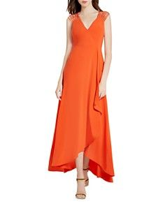 88a3c4be33b HALSTON HERITAGE Strappy Crepe Gown Formal Evening Dresses