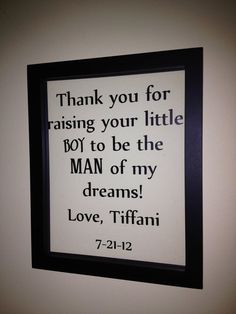 (great gift for the new in-laws on our wedding day) Quotes on frame by AllieGatorGifts on Etsy, $16.00 - Click image to find more Quotes Pinterest pins
