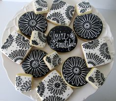 Black and White Floral Cookie Assortment