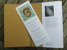 """Flyer of the Zodiac book - the bookmarks are the """"Chronicle of the nearby"""" by Annette Pehnt"""
