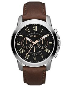 Fossil Watch, Men's Chronograph Grant Brown Leather Strap 44mm FS4813 - Watches - Jewelry & Watches - Macy's