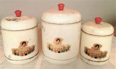 Three Piece Vintage 1940's White Canister Set  With Red Accents And Red Knobs