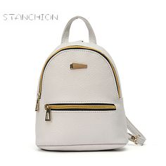 449d4318a5 Backpack Faux Leather Mochila Feminina Daily Solid Zipper Student Rivet  School Bag For Teenage Girls Cute Mini Rucksack-in Backpacks from Luggage    Bags on ...