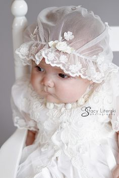 Photo By Stacy Literski - Caroline Heirloom Christening Gown by Baby Beau and Belle Baptism Dress, Christening Gowns, Baby Blessing Dress, Baby Dress Design, Angel Gowns, Frocks For Girls, Baby Bonnets, Baby Hats Knitting, Baby Girl Dresses