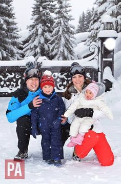 The Duke and Duchess of Cambridge are delighted to share these new photographs of their family, enjoying a skiing holiday with Prince George and Princess Charlotte in the French Alps.    The Duke and Duchess invited the Press Association's Royal Photographer John Stillwell to take the photographs earlier in the week.  This was their first holiday as a family of four and the first time either of the children have played in the snow. It was very special and a fun short holiday for the family…