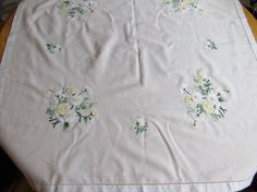 Vintage SQUARE TABLE CLOTH Pale Yellow by CreativeWorkStudios, $14.00