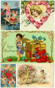 Валентинки для творчества,: декупажные карты, конверты, этикетки
