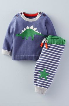 Mini Boden 'Dinosaur' Knit Sweater & Pants Set (Baby Boys & Toddler Boys) available at #Nordstrom