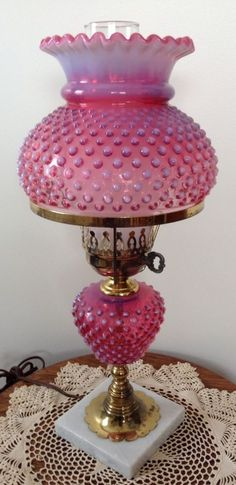 VINTAGE FENTON CRANBERRY OPALSCENT HOBNAIL STUDENT LAMP  ebay I have this one! It is beautiful!