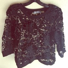 Neiman Marcus lace Top NWOT Poly cotton blend 3/4 sleeves Neiman Marcus Tops
