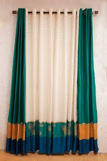 Reuse of old sarees and left over fabric in 9 diffrent ways Indian Room Decor, Ethnic Home Decor, Home Curtains, Curtains Living, Indian Home Interior, Home Interior Design, Diy Home Crafts, Diy Home Decor, Curtain Designs