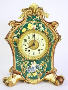 MAJOLICA CERAMIC GILBERT MANTLE CLOCK. This represents thy think it is time for Dave Beckmann & I to get married - and the chosen date is saved. Thank you!  We are very happy!