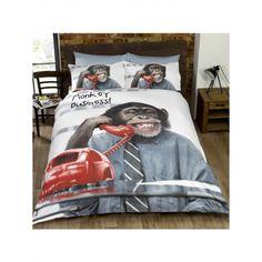 Parure de couette Singe chimpanze 2 personnes. Housse de couette fun et marrante pour un lit adulte.