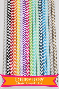 Chevron paper straws  You Pick Colors 25 for $4.00 16 colors to pick from