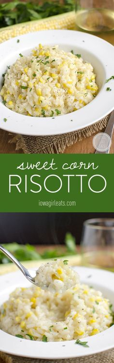 Sweet Corn Risotto is a celebration of summer. Creamy and decadent yet light and perfect for warm evenings. #glutenfree | iowagirleats.com