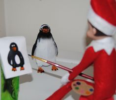 Elf On The Shelf -- Penguin portrait ! (Click on picture to see more great Elf On The Shelf ideas!)