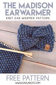 The Madison Ear Warmer Pattern - Knitting Pattern Knitting Ideas Knit 2020 Knitting Trend Easy Knitting Patterns, Loom Knitting, Free Knitting, Baby Knitting, Simple Knitting Projects, Creative Knitting, Knitting Blogs, Knitting Ideas, Knitted Headband Free Pattern