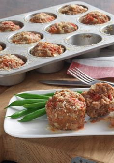 Weeknight Mini Meatloaves: An individual meatloaf recipe with Hunt's Tomatoes and Kraft Parmesan added to the meat and baked in muffin cups. Recipe Source: Kraft Foods, Inc. Kraft® is a registered trademark of Kraft Foods, Inc. Kraft Recipes, New Recipes, Dinner Recipes, Cooking Recipes, Favorite Recipes, Healthy Recipes, Kraft Foods, Dinner Ideas, Weeknight Recipes