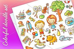 Colorful doodle set Graphics Colorful doodle set of objects from a child's life including pets, toys, food, plants and things for by Optimistic Kids Art