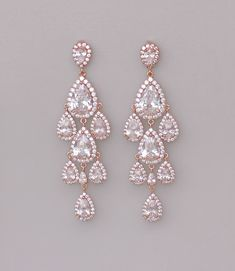 Rose Gold Chandelier Earrings Pink Gold Teardrop by JamJewels1