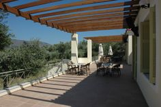 Terrace of the Gera's Olive Grove ESTATE Olive Tree, Lodges, Acre, Terrace, Natural Beauty, Greece, Pergola, Relax, Outdoor Structures