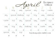 April workout Calender. Love These. She also has many workout plans on her site!