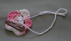 Crochet Flower Hair Clip Tutorial