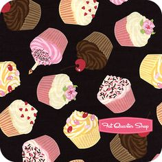 Timeless Treasures Black Tossed Cupcakes Yardage SKU# C7117-BLACK