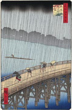 Utagawa Hiroshige (歌川広重), Sudden shower over Shin-Ōhashi bridge and Atake (Woodblock print); One Hundred Famous Views of Edo (Ōhashi Atake no yūdachi), Japan, Vincent van Gogh, The Bridge in. Van Gogh Pinturas, Mary Cassatt, Van Gogh Museum, Paul Gauguin, Famous Places, Japanese Painting, Japanese Prints, Japan Art, Claude Monet