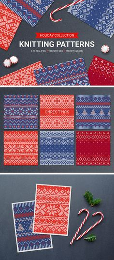Free 6 Knitting Seamless Patterns | Jpg & Eps Files (34.6 MB) | pixelbuddha.net | #free #pattern #vector
