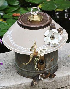 "Birdhouse, Metal Birdhouse, Reclaimed Objects Birdhouse, ""Magnolia"". $165.00, via Etsy."