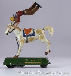 Vintage Wind Up Lehmann 625 Bucking Broncho Wild West Tin Toy Germany
