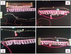DIY Bracelet style hipanema : 1) Matos : 2 rubans, 1 ruban sur lequel on attache un chaine strassée, 3 autres chaînes avec des breloques, 1 fermoir 2) On découpe un petit morceau de tissus sur lequel on colle les rubans afin de les faire tenir. 3) On coud le tout (si possible en repliant le ruban support sur lui même), y compris les chaine (en passant le fil dans le premier maillon). 4) On met de la colle généreusement et on rentre le tout dans l'encoche prévue à cet effet du fermoir aimanté…