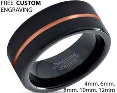 Negro de tungsteno anillo oro anillo de bodas por BellyssaJewelry
