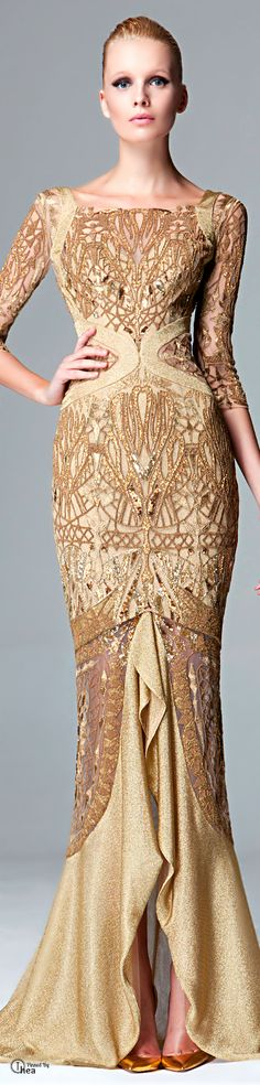 Zuhair Murad - FW 2014-15 | The House of Beccaria gold evening gown.....SO GOOD....