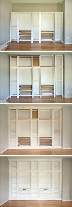 ikea hack diy built in bookcase with hemnes furniture studio 36 interiors - PIPicStats Diy Casa, Built In Bookcase, Bookshelves Ikea, Hemnes Bookcase, Bookshelf Ideas, Build In Bookshelves, Ikea Shelving Hack, Hemnes Drawers, Diy Built In Shelves