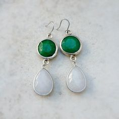 september jewelry long  DUAL emerald green white by YUNILIsmiles, $69.00