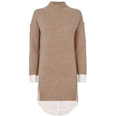 Brochu Walker Women's Layered Sweater Dress (2,655 CNY) ❤ liked on Polyvore featuring dresses, sweaters, long sleeve sweater dress, brown sweater dress, long-sleeve sweater dresses, layered dress and brown long sleeve dress